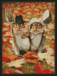 Thanksgiving Chipmunks - Counted Needle Point and Cross Stitch Chart Patterns.  via Etsy.