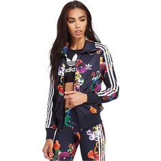 adidas Originals Floral Firebird Track Top ($78) ❤ liked on Polyvore featuring tops, multicolour, flower print top, adidas originals, floral print top, multi color tops and floral top