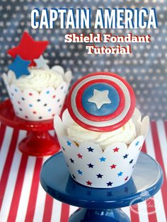 Superheroes continue to be enormously popular theme for children and adults of all ages, increasing the interest superhero cupcakes! With the new film Captain America: The Winter Soldier coming out in theaters on this weekend, demand for patriotic and Captain America cupcake toppers are sure to skyrocket! Learn how to make Captain America cupcakes to serve {and protect} your guests for a presentation that is larger than life!