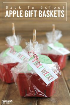 Back to School Apple Gift Baskets - cute gift idea to give to the teacher!