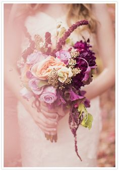 Gorgeous lavender, peach and plum #wedding bouquet! From http://100layercake.com/blog/2012/11/19/peach-and-plum-wedding-inspiration/  Photo Credit: http://alixannlooslephotography.com Flowers by http://urbanchateaufloral.com/