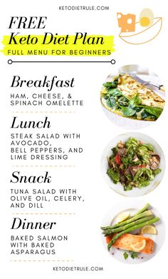 Kick start your weight loss in 2020 with our free keto diet plan for beginners. This free keto meal plan includes meal ideas and foods you can eat on keto. - Keto diet for beginners Free Keto Meal Plan, Ketogenic Diet Meal Plan, Ketogenic Diet For Beginners, Diet Menu, Ketogenic Recipes, Diet Recipes, Healthy Recipes, Soup Recipes, Free Meal Plans