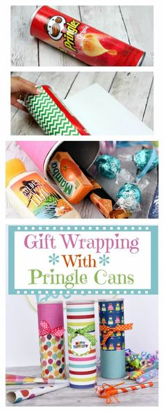 Birthday Gift Idea. Pringle cans are such a fun way to wrap a gift! It also provides you with a lot of room to fill with fun gifts. #giftidea #giftwrap #birthday