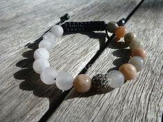Yin Yang Natural Moonstone and Matte Rose Quartz Shamballa Bracelet