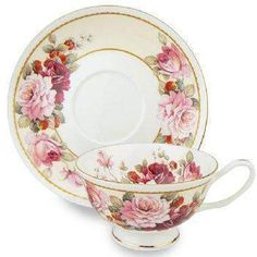 Strawberry and Peony Bone China 8oz Tea Cup and Saucer Set with 14K Gold Trim China Cups And Saucers, Teapots And Cups, Cup And Saucer Set, Tea Cup Saucer, Bone China Tea Cups, My Cup Of Tea, Tea Service, Vintage China, Vintage Teacups