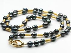 """shop deleuse.com and get free shipping 36"""" 18k gold & Tahitian pearl necklace deleuse.com"""