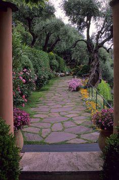 Italy, Portofino, Hotel Splendido, Stone Walkway, Flowers, Roses and Azaleas
