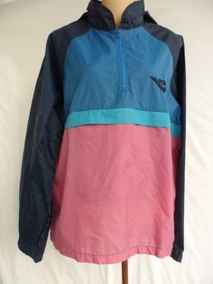 Pony Vintage 1980's Windbreaker Pullover Jacket Tuck Away Hood Size Medium EUC #Pony #Casual