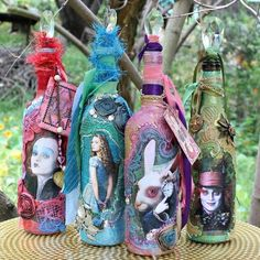alice through the looking glass mixed media bottles, crafts, dining room ideas, home decor, repurposing upcycling