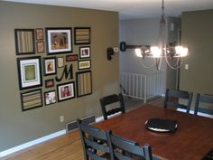 wall arrangement and paint color- Behr Mississippi Mud-- current kitchen color-love the wall art & accent colors Home Improvement Projects, Home Projects, Wall Colors, Accent Colors, Paint Colors, Colours, Galley Wall, Trendy Home, Picture Wall
