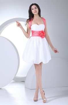 40ac9753a5 Hand Made Flowers Decorate Bodice Bowknot Mini-length White Criss Cross  Straps 2013 Prom Dress
