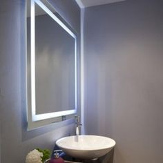 Master bath mirrors lighted vanity mirror in powder room contemporary with bathroom ideas frame Modern Bathroom Mirrors, Bathroom Mirror Lights, Lighted Vanity Mirror, Ideal Bathrooms, Modern Bathroom Design, Contemporary Bathrooms, Mirror With Lights, Bathroom Interior, Bathroom Ideas
