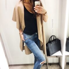 camel, black, ripped jeans