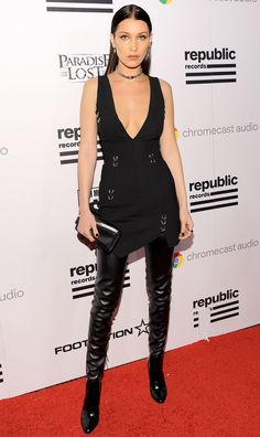 Grammys 2016: 13 Dresses You Didn't See | People - Bella Hadid in a black mini dress and thigh-high leather boots