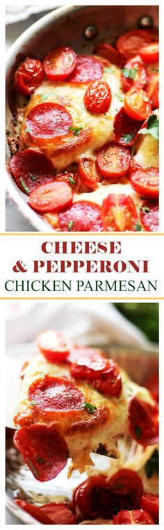 Cheese and Pepperoni     Cheese and Pepperoni Chicken Parmesan - This is seriously delicious!! Get the recipe on  diethood.com  For a gluten-free option, use GF Flour  https://www.pinterest.com/pin/186547609541853611/   Also check out: http://kombuchaguru.com