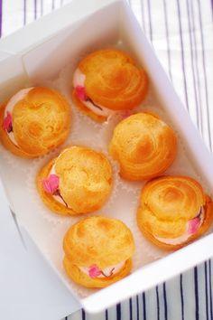 Cherry blossom cream puffs