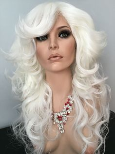 Long Curls, Waves, Drag Wigs, Farrah, Black, Blonde, Burgundy, White, Pink