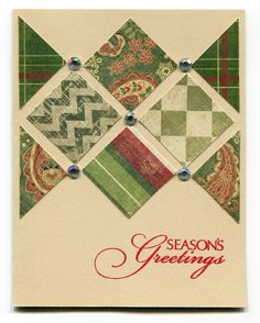 Handmade Christmas Card ... quilt look ... inchies punched from patterned paper in greens form a wide band across the top ... like the spacing between them with jewels where they cross ...