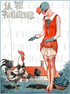 SAUCY French Flapper Feeds The Rooster Art by DandDDigitalDelights