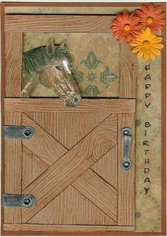 DIy Kraft Cardstock Card Idea with Horse Theme. Fun Fold Cards, Folded Cards, Cool Cards, Birthday Cards For Men, Handmade Birthday Cards, Greeting Cards Handmade, Cricut Cards, Stampin Up Cards, Horse Cards