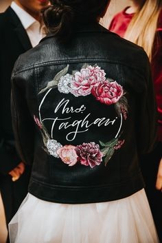 Hand painted leather jacket for the modern bride. Custom Jackets, Painted Leather Jacket, Wedding Jacket, Wedding Things, Leather Skirt, Bomber Jacket, Hand Painted, Bride, Future