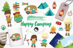 Happy Camping pack features over 25graphic elements and is perfect for invitations, greeting cards, product design, tags, labels and so much more.