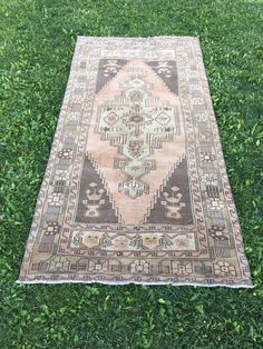 "Vintage Turkish Rug,Antique Decor Stunning Oushak Rug,Entryway Rug 3'11""x7'11"" 