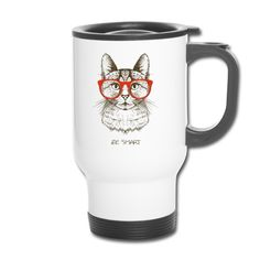 Hipster Cat, Neutral, Mugs, Tableware, Cat T Shirt, Ideas For Christmas, Kaffee, Stainless Steel, Drinking
