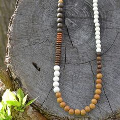 Bohemiam Wood Beaded Necklace - Ethically sourced handmade beads from the Philippines Leather Pearl Necklace, Wood Necklace, Men Necklace, Necklace Ideas, Tribal Necklace, Tassel Jewelry, Bohemian Jewelry, Beaded Jewelry, Jewellery