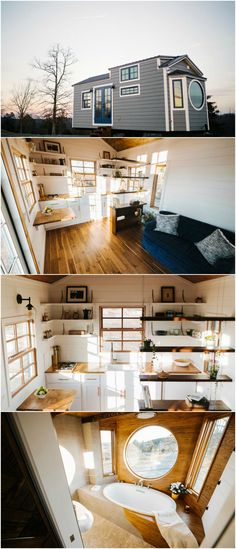 "The Monocle is a nice custom tiny house built by Wind River Tiny Homes.  The interior features warm woods and rustic touches for a luxurious finish. The 24′ tiny home is 10′ wide to accommodate a bed on the main level and a full size soaking tub with a large ""monocle window"" to enjoy the surroundings while soaking.  The kitchen includes open shelving, custom steel brackets, a farmhouse sink, and butcher block countertops. #tinyhomeinterior"