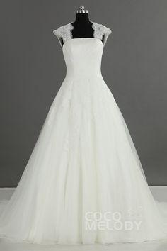 Fantastic+A-Line+Strapless+Natural+Court+Train+Tulle+Ivory+Sleeveless+Key+Hole+Wedding+Dress+LD2429