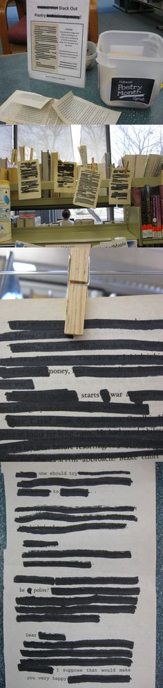 Black Out Poetry teen passive program at the Sault Ste. Library Week, Teen Library, Library Boards, Library Lessons, Library Ideas, Library Themes, Teen Programs, Library Programs, Youth Programs