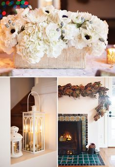 A Gorgeous Gold + White New Year's Eve Party with gold-rimmed glasses, candlesticks, crackers, clocks, ornament-filled lanterns, floral garland, champagne..