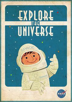 1960s NASA graphic illustration cartoon spaceman kids in space