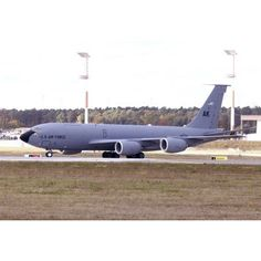 A KC-135R Stratotanker taxiing at Ramstein Air Base Germany Canvas Art - Timm ZiegenthalerStocktrek Images (17 x 12)