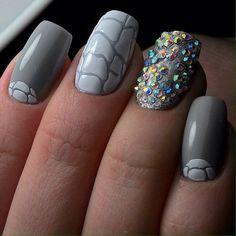 Beautiful nails 2017, Evening dress nails, Matte nails, Matte nails with glossy pattern, Medium nails, Nails with rhinestones, Nails with stones, Original nails