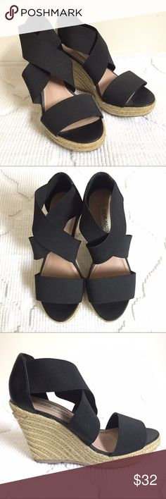 """Strappy Wedge Espadrille Sandals Extremely comfortable yet super cute wedged sandals. Straps are elastic for that extra comfort. 3.5"""" heel height. Love these pairs for a night out of town but haven't worn them in awhile so time to let them go! Soles show wear but everything else is in tip-top shape! Steve Madden Shoes Wedges"""
