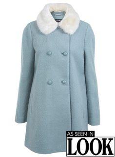 Miss Selfridge Duck Egg Pea Coat as seen on Ariana Grande Fur Collar Coat, Cute Coats, Green Coat, Green Fur, Fall Looks, Miss Selfridge, Autumn Winter Fashion, Winter Outfits, Winter Clothes