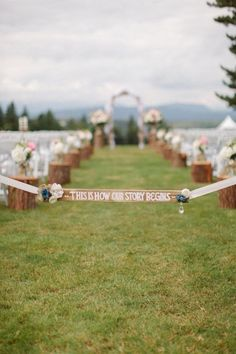 """Instead of """"begins"""" put """"began"""" and go back in time in the aisle with how we met, etc., as people walk to their seats   Backyard British Columbia Wedding"""