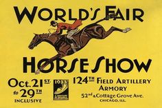 World's Fair Horse Show Jumping Chicago 1933 Vintage Poster Repro FREE SHIPPING #Vintage