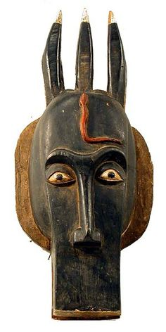 """BAULE, Bo nun amuin mask 5, wood and pigment, 11x28"""", $600, Ivory Coast  The Baule are one of the Akan peoples. They moved west to the Ivory..."""