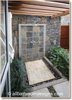 Outdoor showers are wonderful during certain seasons but they must be comfortable and go with your property.