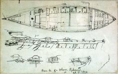 Constructional details of a wherry at Richmond with notes, with more wherry details on reverse. All field studies for the Shipping and Craft plate - Date made 	23 Oct 1829 Artist/Maker 	Cooke, Edward William