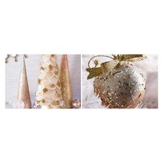 Champane Shimmer: Metallic Christmas Decorations | Pier 1 Imports ❤ liked on Polyvore featuring home, home decor, holiday decorations, gold christmas wreath, christmas holiday decor, metallic home decor, christmas home decor and gold wreath