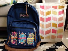 DIY hand-painted canvas tote bag The Phenomenal Mama Hand Painted Canvas, Jansport Backpack, Canvas Tote Bags, Whimsical, Diy Crafts, Backpacks, Kids, Young Children, Boys