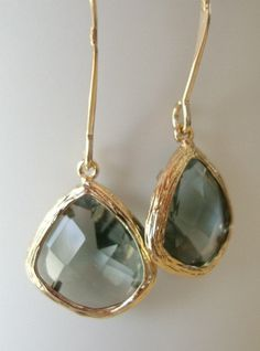 Black diamond glass long gold earrings $30 #etsy