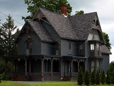 Black House Exterior, Victorian Style Homes, Dark House, Cute House, Gothic House, Old Houses, Abandoned Houses, My Dream Home, House Colors