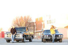 engagement photo | kisses | classic cars | couple poses | wedding | oklahoma photographer | mary cramer photography