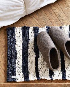 Fog Linen Work Knitted Linen Floor Mat - Striped (OUT OF STOCK)