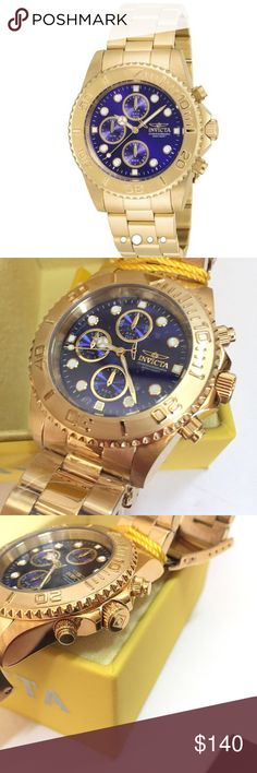 Men's Invicta Chronograph Watch Chronograph Divers Watch with blue dial, rotating bezel, gold plated over stainless steel, water resistant 200mm, 44mmx12mm case, flame fusion crystal, new with tag Invicta Accessories Watches